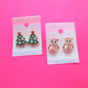 nwt ugly christmas earrings xmas tree snowman set